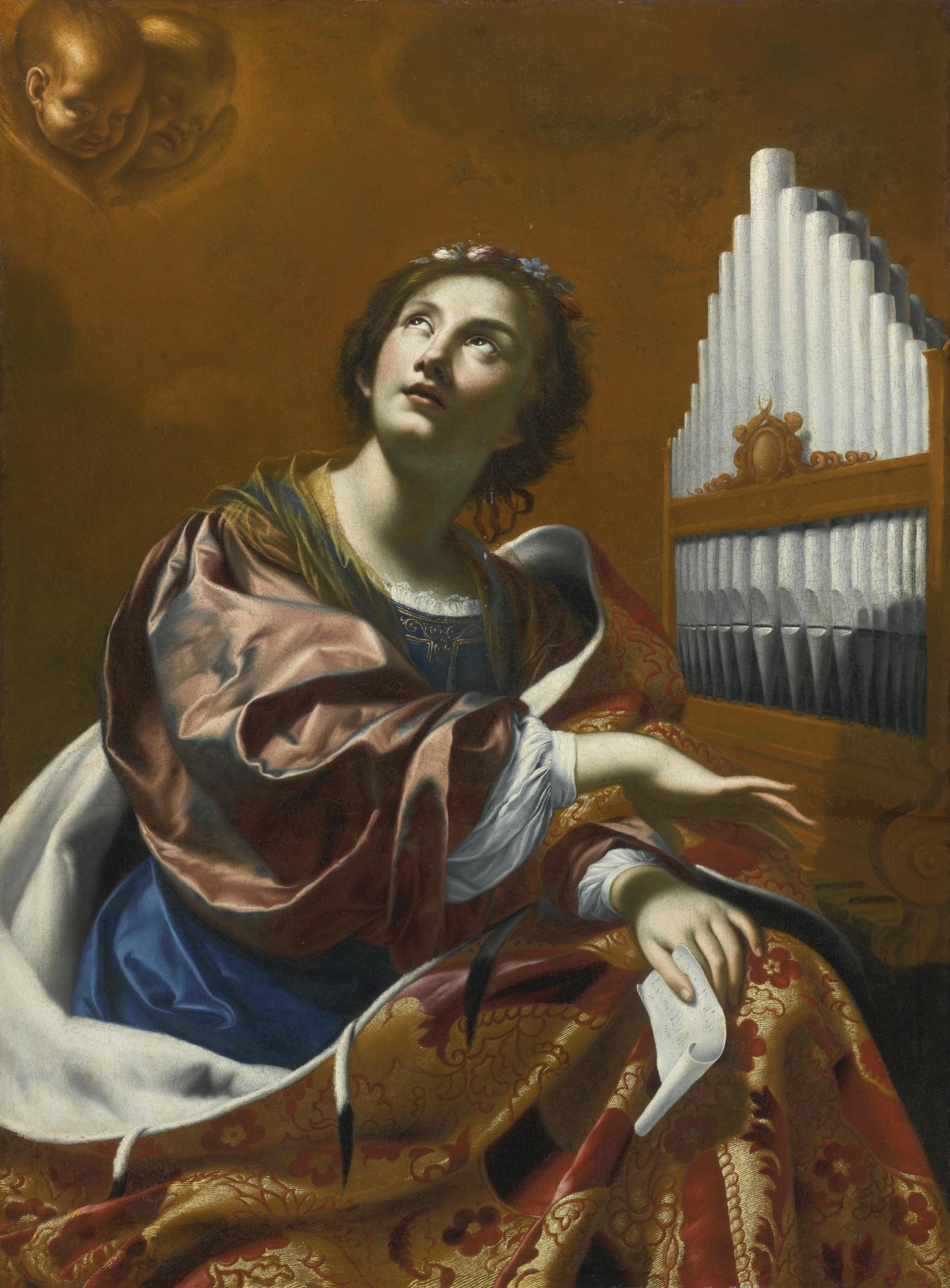 painting Cecilia saint music Vouet