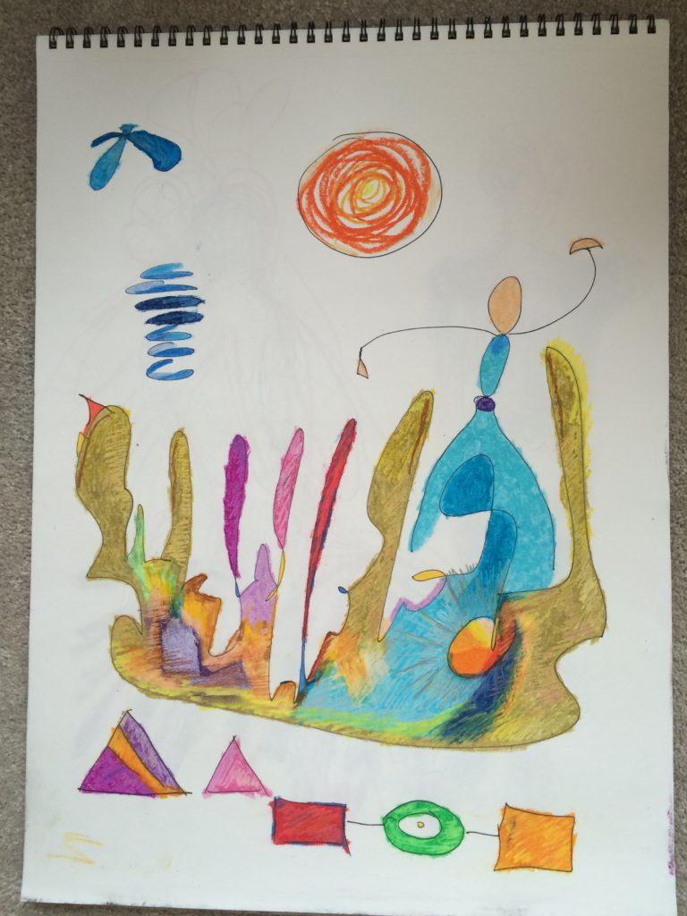 art, sketch, mixed media, color pastels, abstract, original