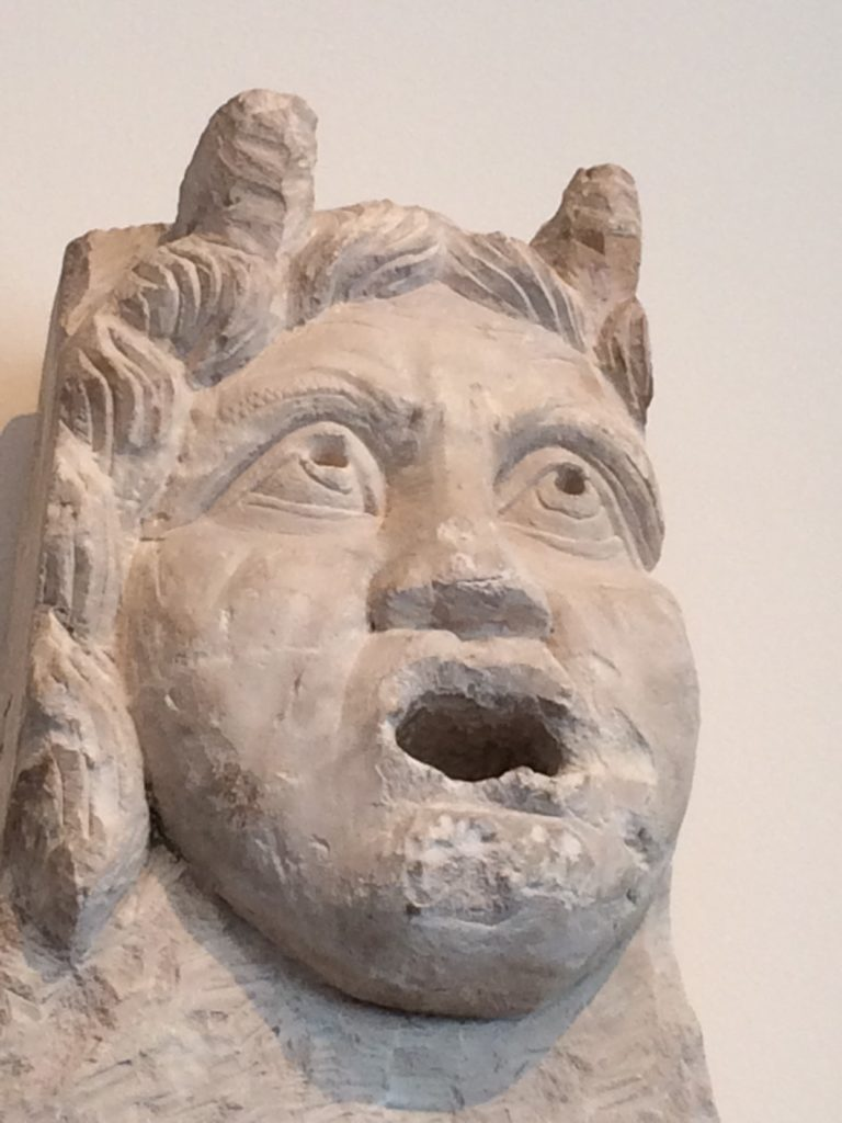 sculpture, fountain, satyr, spout, face, expression, carving, intensity
