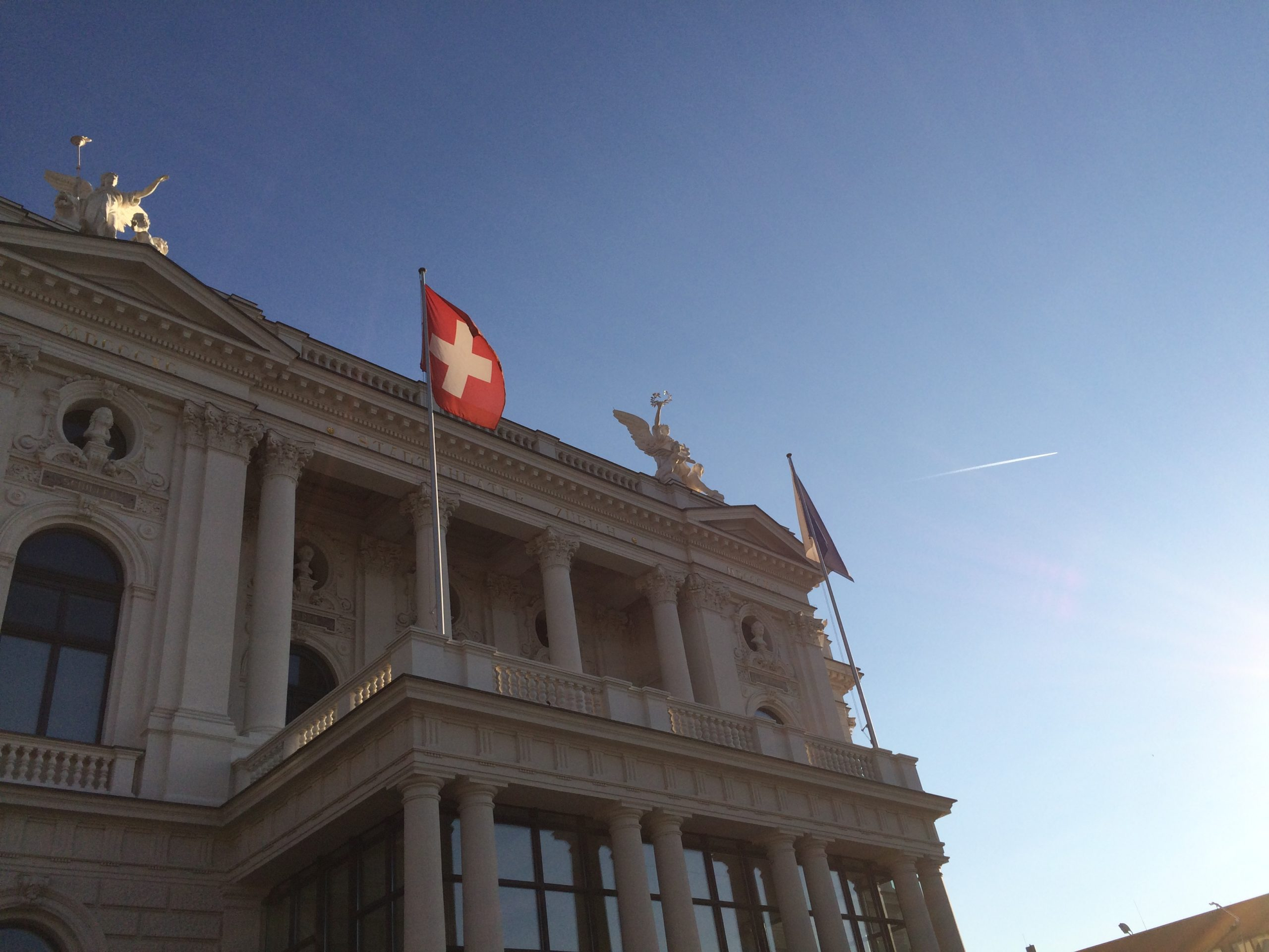 Opernhaus Zurich, Zurich, flag, Switzerland, house, front, architecture, culture, performance, music, ballet
