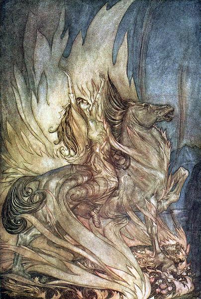 Arthur Rackham, illustration, Wagner, Brünnhilde, Grane, horse, flames, opera, Ring, music, drama, art, Götterdämmerung