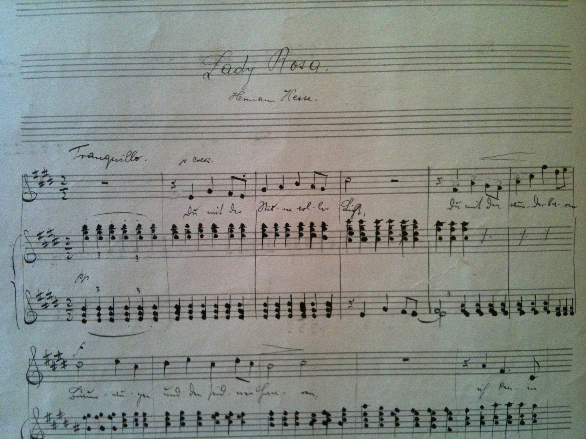 score, Hans Gál, original, music, lieder, song, handwriting