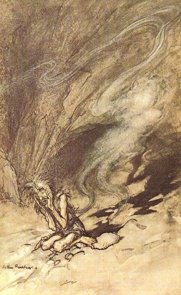 Arthur Rackham, art, illustration, Das Rheingold, Ring, Wagner, opera, drama, music