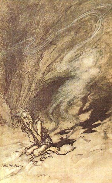 Arthur Rackham, art, illustration, Das Rheingold, Ring, Wagner, opera, drama, music