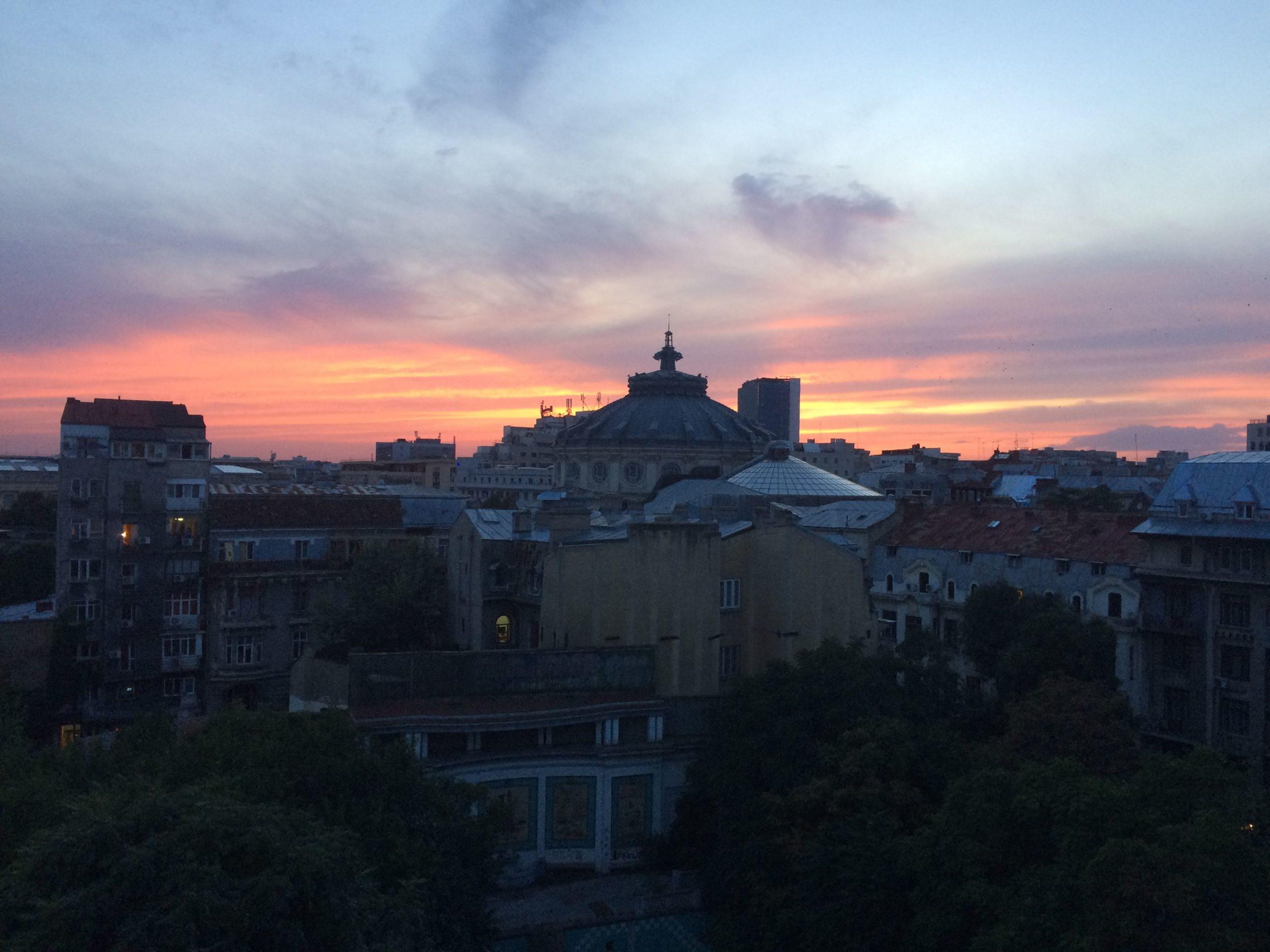 sunset, sky, color, Romanian Athenaeum, Bucharest, scene, perspective